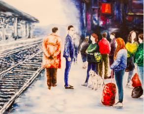 La stazione di Pavia, in un dipinto di Tommaso Chiappa