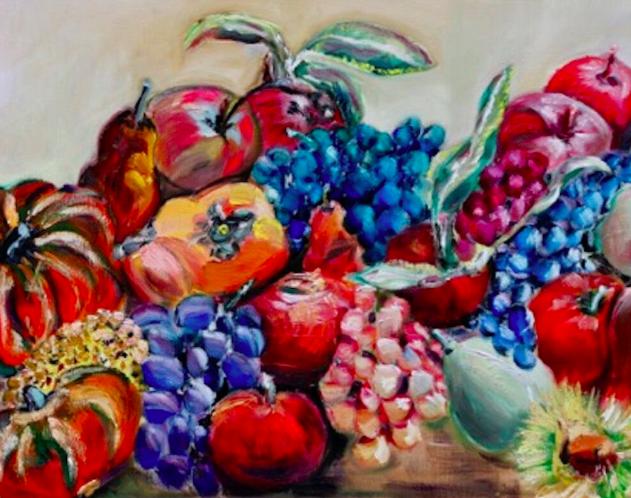 Frutta autunnale, olio su tela di Sonia Carli